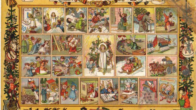 Adventskalender Im Lande Des Christkinds. Die Fenster Enthielten  Weihnachtliche Verse Und Konnten Mit Bildern Aus