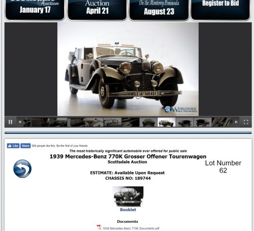 Auf der Website des US-amerikanischen Aktionshauses gibt es weitere Informationen über das geschichtsträchtige Automobil. Unter anderem kann man sich dort ein PDF-Dokument herunterladen...