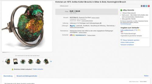 Stand bei eBay zum Verkauf: Der Preis für das schillernde Schmuckstück betrug 1.190 Euro. Allerdings wurde das Angebot bereits beendet. (Screenshot: eBay.de)