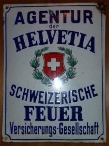 HELVETIA - Emailleplakat Hans Fink, Pasing München